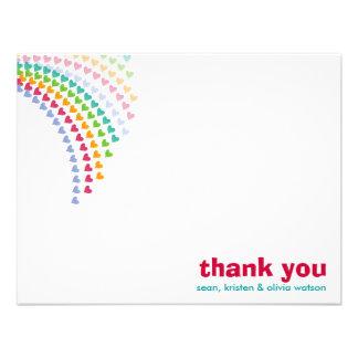 fatfatin Rainbow Heart Sprinkles Baby Thank You 2 Custom Announcements