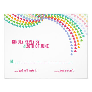 fatfatin Rainbow Heart Sprinkles RSVP Card Personalized Announcement