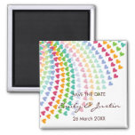 fatfatin Rainbow Heart Sprinkles Save The Date Fridge Magnets