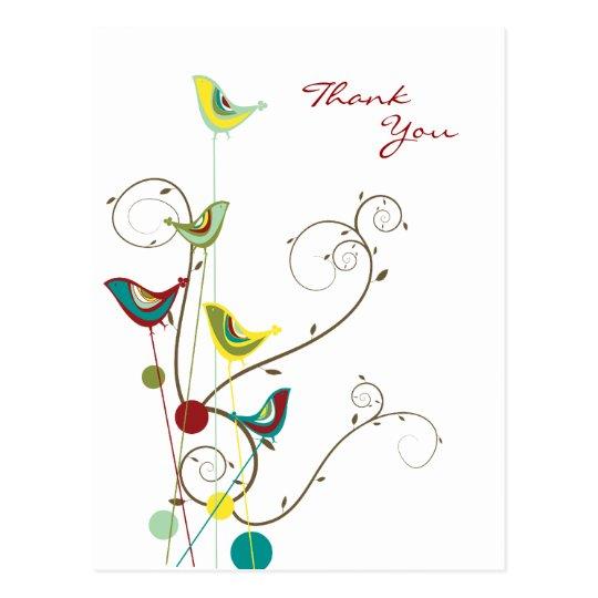 fatfatin Summer Bird and Swirls Thank You Postcard