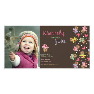 fatfatin Sweet Cherry Cupcakes Birthday Invite Customized Photo Card