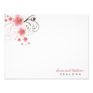 fatfatin Tropical Hibiscus Pink R Thank You Card Invite