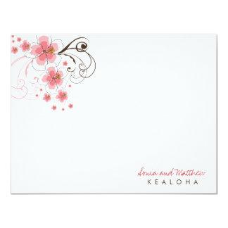 "fatfatin Tropical Hibiscus Pink (R) Thank You Card 4.25"" X 5.5"" Invitation Card"