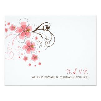 """fatfatin Tropical Hibiscus Pink Wedding RSVP Reply 4.25"""" X 5.5"""" Invitation Card"""