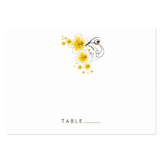 fatfatin Tropical Hibiscus Yellow Wedding Place Ca Business Cards
