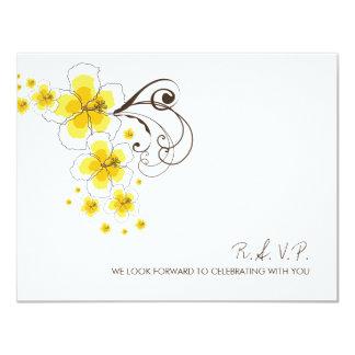 "fatfatin Tropical Hibiscus Yellow Wedding RSVP Rep 4.25"" X 5.5"" Invitation Card"