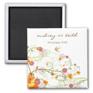 fatfatin Yellow Floral Swallows Save Date Magnet