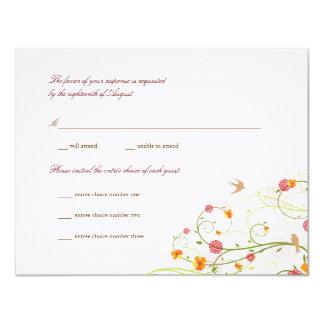 fatfatin Yellow Hibiscus Swirls & Swallows RSVP 11 Cm X 14 Cm Invitation Card