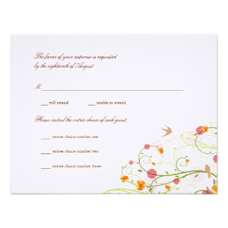 fatfatin Yellow Hibiscus Swirls Swallows RSVP Personalized Invites