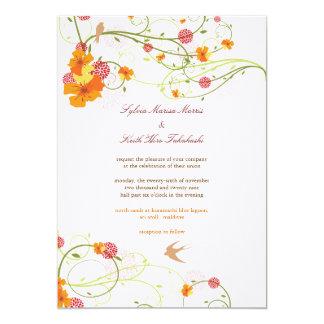 fatfatin Yellow Hibiscus Swirls & Swallows Wedding Custom Invite