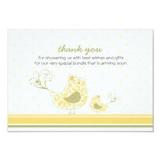 "fatfatin Yellow Swirly Mom & Baby Bird Thank You 3.5"" X 5"" Invitation Card"