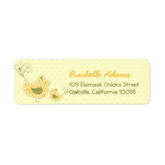 fatfatin Yellow Swirly Mum & Baby Bird Labels