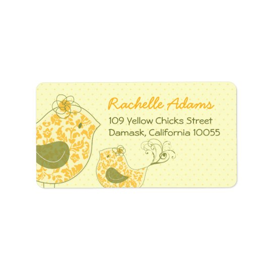 fatfatin Yellow Swirly Mum & Baby Bird Labels