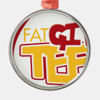 FatGirlTees 1 Silver-Colored Round Decoration