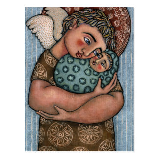 Father and baby angel postcard