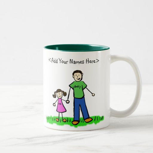 Father and Daughter Brunette Mug (Customize Names)