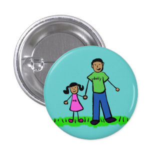 Father and Daughter Family Pin Art Button