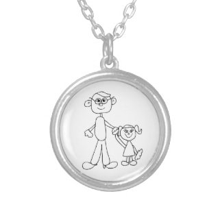Father and Daughter Silver Plated Necklace
