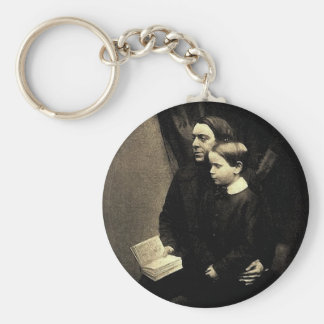 Father and Son Basic Round Button Key Ring