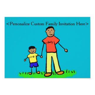 """Father and Son Family Characters Custom Invitation 5"""" X 7"""" Invitation Card"""