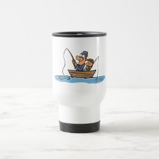 Father and Son Fishing Cartoon Stainless Steel Travel Mug