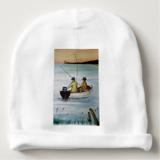 Father and son fishing trip baby beanie