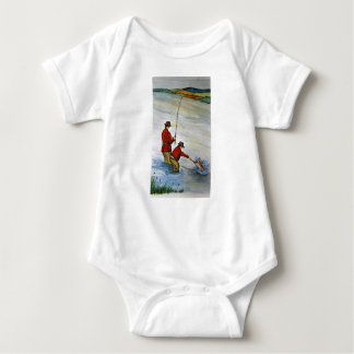 Father and son fishing trip baby bodysuit