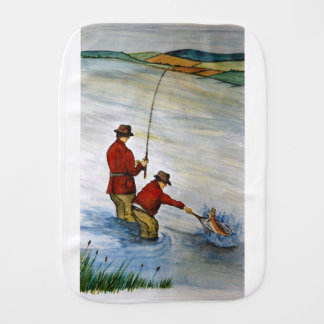 Father and son fishing trip burp cloth