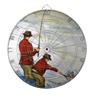 Father and son fishing trip dartboard