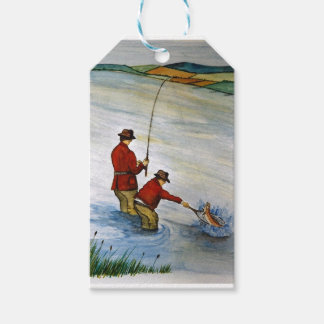 Father and son fishing trip gift tags