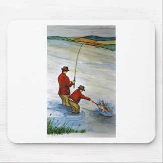 Father and son fishing trip mouse pad
