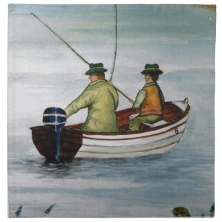Father and son fishing trip napkin