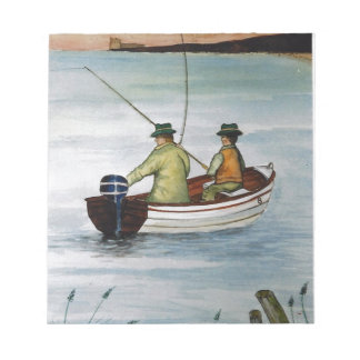 Father and son fishing trip notepad