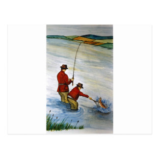 Father and son fishing trip postcard