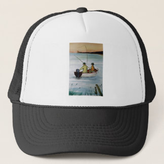 Father and son fishing trip trucker hat