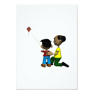 Father And Son Flying Kite 13 Cm X 18 Cm Invitation Card