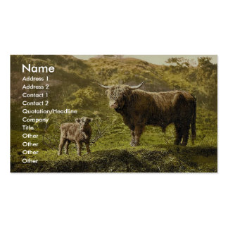 Father and son (highland cattle), England classic Business Card