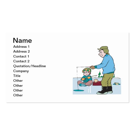 Father And Son Ice Fishing Business Cards
