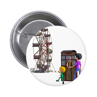 Father and Son ready to ride a Ferris Wheel 6 Cm Round Badge
