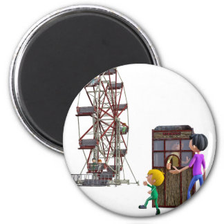 Father and Son ready to ride a Ferris Wheel 6 Cm Round Magnet