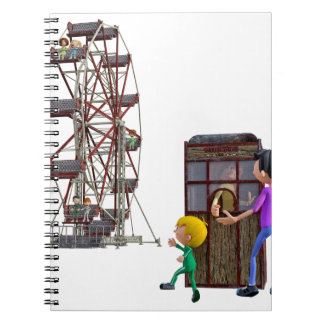 Father and Son ready to ride a Ferris Wheel Note Books