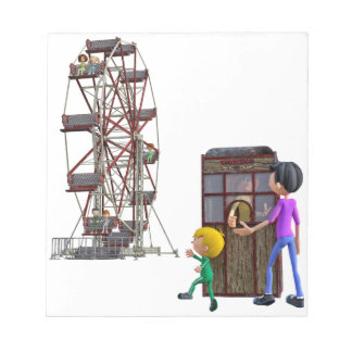 Father and Son ready to ride a Ferris Wheel Notepad