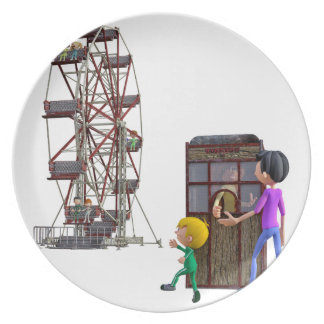 Father and Son ready to ride a Ferris Wheel Plate