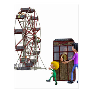 Father and Son ready to ride a Ferris Wheel Postcard
