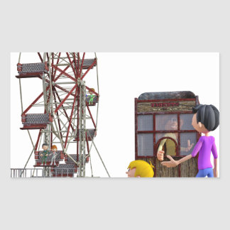 Father and Son ready to ride a Ferris Wheel Rectangular Sticker