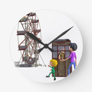 Father and Son ready to ride a Ferris Wheel Round Clock