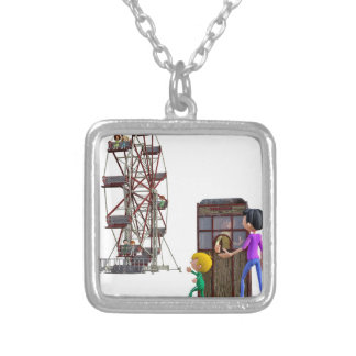 Father and Son ready to ride a Ferris Wheel Silver Plated Necklace