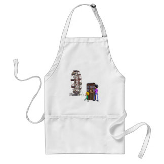 Father and Son ready to ride a Ferris Wheel Standard Apron