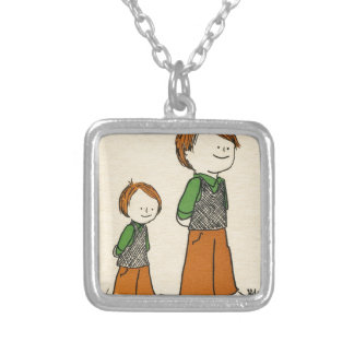 Father and Son (small version) Silver Plated Necklace