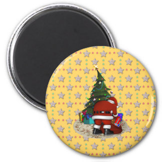 Father Christmas and the Christmas Tree 6 Cm Round Magnet
